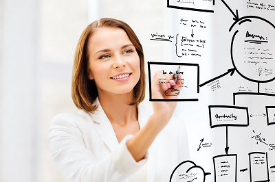 businesswoman drawing plan on the virtual screen